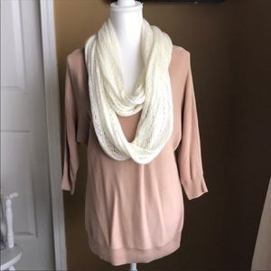 Oversized v-neck tunic style sweater top w/ scarf